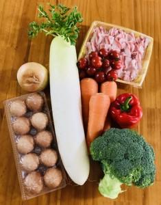 肉、卵、野菜